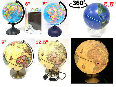 Rotating Rolling Vintage Illuminated Educational Globe World Map All Sizes Large • 6.99£