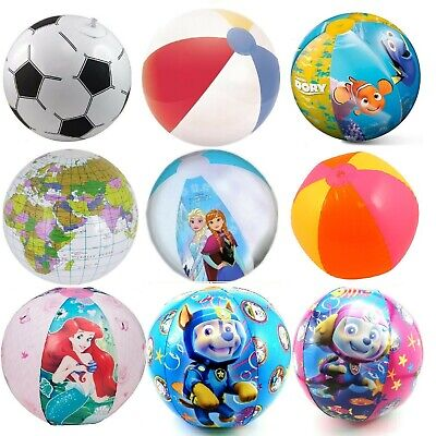 Inflatable Blow Up Kids Beach Ball Paw Patrol Princess Cars Giant Football &More • 2.45£