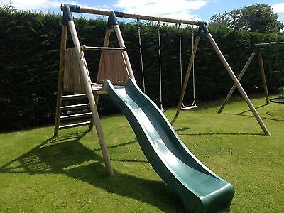 Countrywood Pilsdon Wooden Playframe - Play Deck, Wavy Slide & Two Swings • 439£