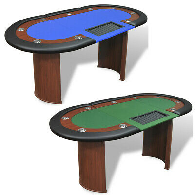10 Player Casino Poker Table Dealer Area With Removable Chip Tray Blue/Green • 203.99£