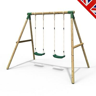 Rebo Kids Wooden Garden Swing Set Childrens Swings - Venus Double Swing • 179.95£