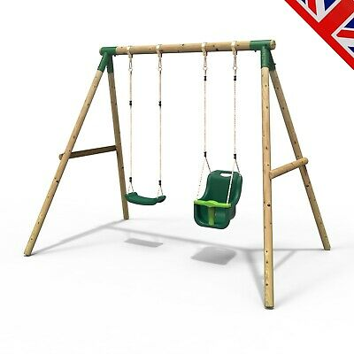 Rebo Children's Wooden Garden Swing Sets Single + Baby Swing Seats - Luna • 189.95£