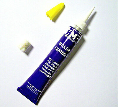 HMG BALSA CEMENT 24ml WITH FINE APPLICATOR NOZZLE FOR BALSA, SOFTWOOD & CORK • 2.50£
