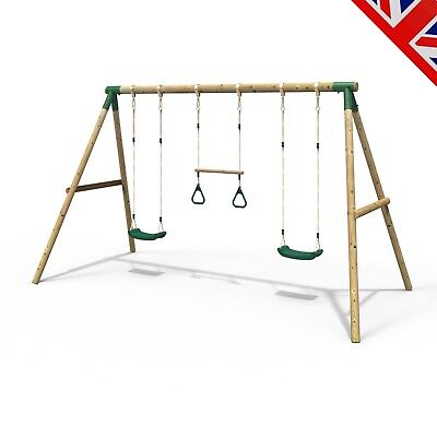 Rebo Kids Wooden Garden Swing Set Childrens Swings - Comet • 199.95£