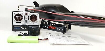 Black Stealth Large Rc Racing Speed Boat Radio Remote Control Boat Twin Motor • 51.99£