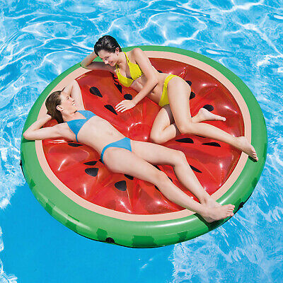 Inflatable Watermelon Slice Island Swimming Pool Lilo Water Air Lounger Float • 118.99£