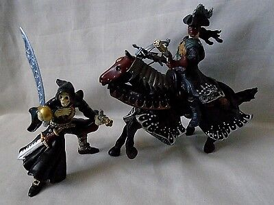 Papo 2 Mythical Figures One On Horse Back 1 Skeleton Figure Lots Of Detail • 12.99£