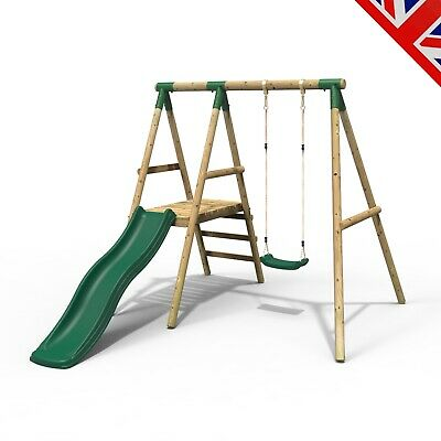 Rebo Apollo Wooden Swing Set With Platform And Slide • 309.95£