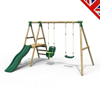 Rebo Odyssey Wooden Swing Set With Platform And Slide • 339.95£