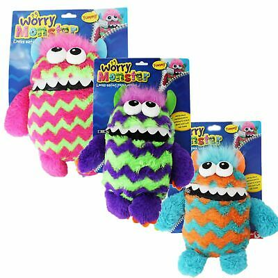 Children's Kids Worry Monster Soft Plush Toy With Zip Up Mouth Eats Worry Notes • 8.99£