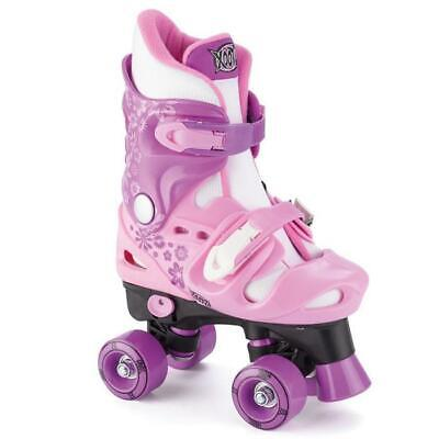 Xootz Junior Girls Quad Roller Skates Shoes Disco Boots Outdoor Toy Pink 2 Sizes • 24.99£