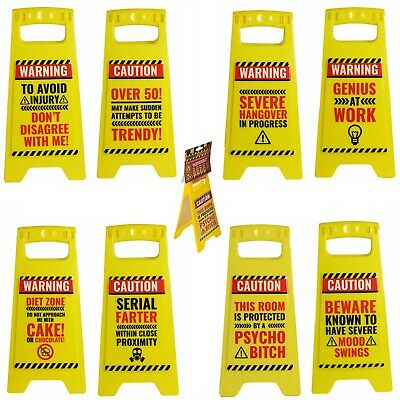 Office Desk Work Joke Funny Novelty Desk Warning Signs Caution Secret Santa Gift • 4.99£