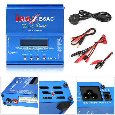 IMAX B6 AC Lipo NiMH Polymer RC Battery Balance Charger Discharger  LCD Digital • 29.99£