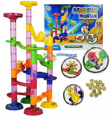 50 Pcs Marble Run Race Set Building Blocks Construction Toy Game Glass Marbles • 6.99£