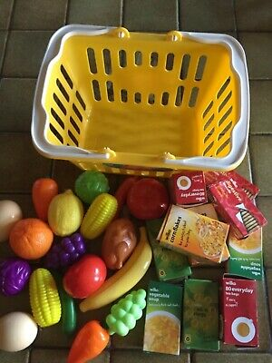 Toy Shopping Basket And Food • 7£