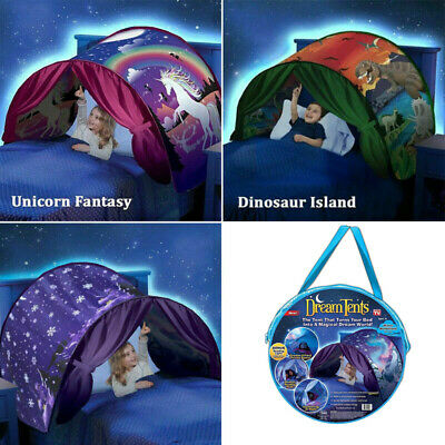 Dream Kids Tents House Unicorn Foldable Tent Pop Up Indoor Bed With Light Gift • 11.98£