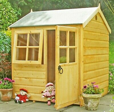 4x4 CHILDRENS WOODEN WENDY PLAYHOUSE KIDS WOOD GARDEN WINDOW PLAY HOUSE DEN 4FT • 269.94£