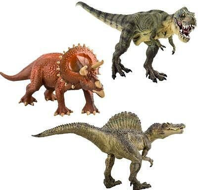 DeAO High Quality Large Dinosaur Figures Set Of 3 T-Rex Triceratops Spinosaurus • 8.99£