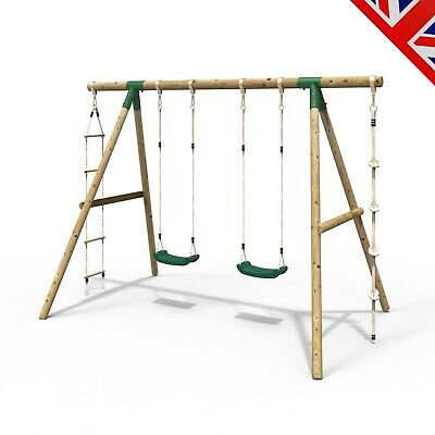Rebo Wooden Garden Swing Sets – Eclipse Double Swing Ladder & Climbing Rope • 219.95£