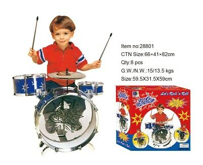 Fancy Child Kid Drum Kit Jazz Band Sound Drum Play Set Musical Toy Stool Boys  • 14.95£