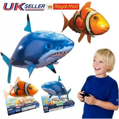 Toys Remote Control Flying Shark Fish RC Radio Air Swimmer Inflatable Blimp Gift • 16.19£