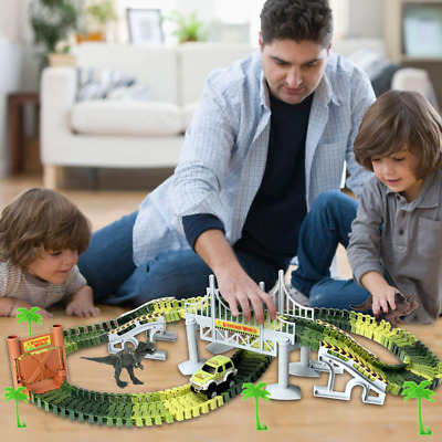 144Pcs Flexible Track Race Car Train Toy Playset Dinosaur Building Game For  • 12.95£