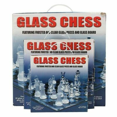 Traditional Chess Set Glass Board Game Beautiful Unique Gift 32 Pieces Party Fun • 25.99£