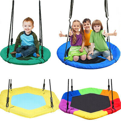 Garden Swing Seat Height Adjustable Rope Kids Climbing Frame UFO Disc Crows Nest • 41.96£