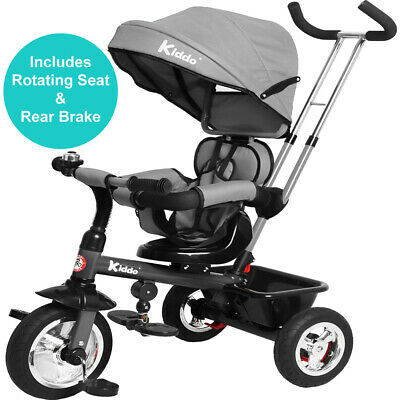 Kiddo Baby Kids 4in1 Tricycle Bike Ride On Trike Stroller 3 Wheels Canopy Grey • 99.99£