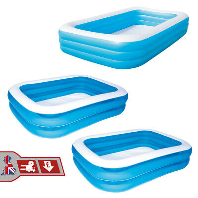 Inflatable Rectangular Paddling Pool Patio Garden Family Pools Deluxe  • 19.49£