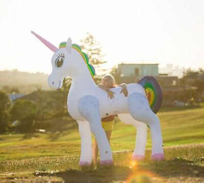 Giant Life Size Inflatable Unicorn Garden Swimming Party Childrens Kids Toy 6 Ft • 24.95£