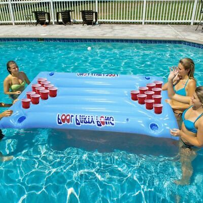 Inflatable Beer Pong Table Pool Float Summer Water Party Air Mattress 24 Cup  • 56.62£