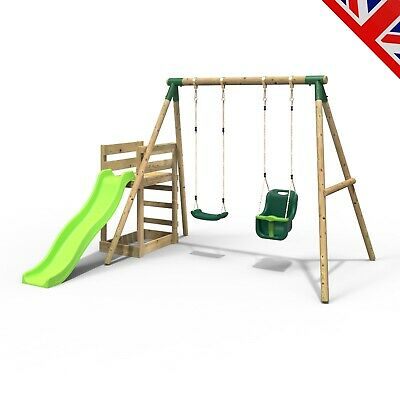 Rebo Wooden Swing Set Plus Deck & Slide - Luna Green • 314.95£