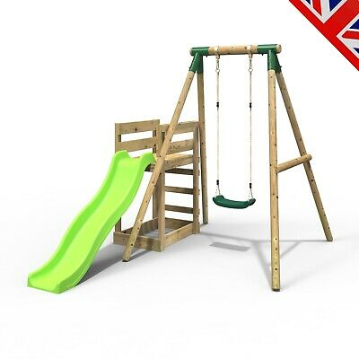 Rebo Wooden Swing Set Plus Deck & Slide - Solar Green • 284.95£