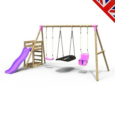 Rebo Wooden Swing Set Plus Deck & Slide - Halley Pink • 329.95£
