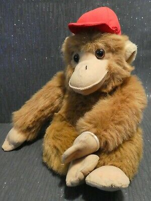 Soft Plush Monkey With Zip Pouch And Red Baseball Cap • 9£