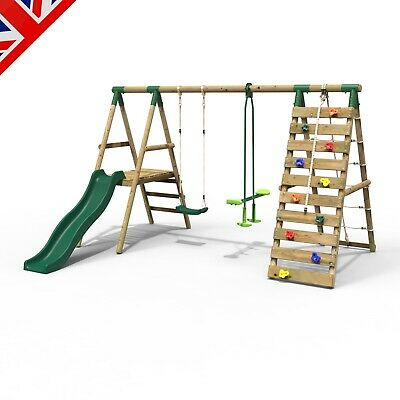 Rebo Wooden Swing Set With Deck And Slide Plus Up And Over Climbing Wall • 369.95£