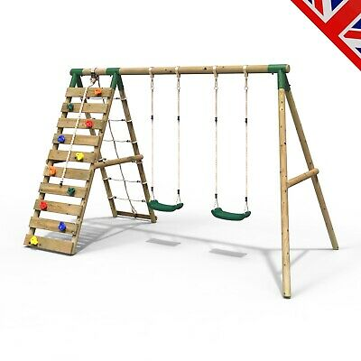 Rebo Wooden Swing Set With Up And Over Climbing Wall - Ela Green • 304.95£