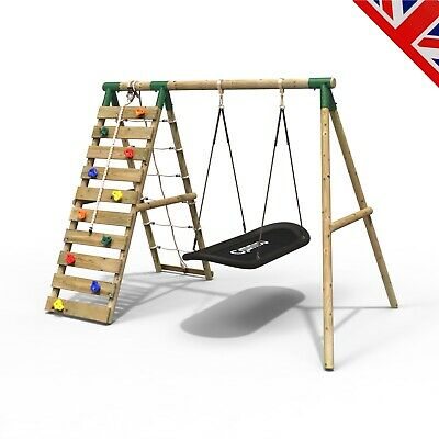 Rebo Wooden Swing Set With Up And Over Climbing Wall - Eden Green • 309.95£