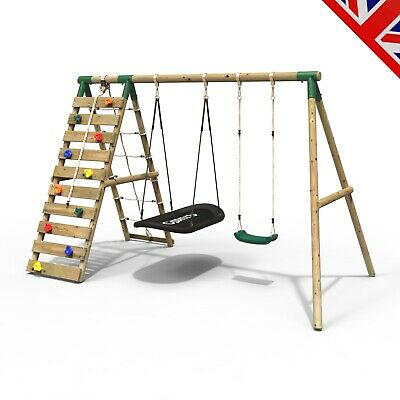 Rebo Wooden Swing Set With Up And Over Climbing Wall - Sage Green • 314.95£