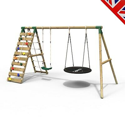 Rebo Wooden Swing Set With Up And Over Climbing Wall - Vale Green • 339.95£