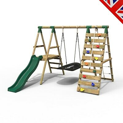 Rebo Wooden Swing Set With Deck And Slide Plus Up And Over Climbing Wall - Onyx • 379.95£