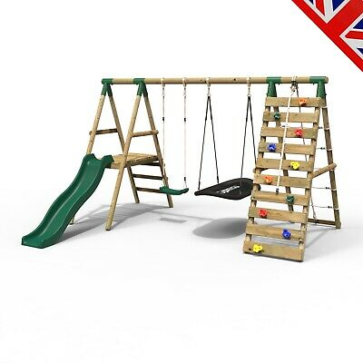 Rebo Wooden Swing Set With Deck & Slide Plus Up & Over Climbing Wall - Quartz • 327.96£