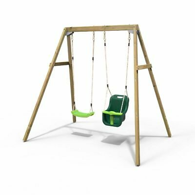 Rebo Active Range Wooden Garden Double Swing With Baby Seat – Green • 127.96£