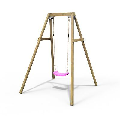 Rebo Active Range Wooden Garden Single Swing Set –  Pink • 129.95£