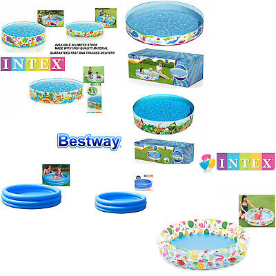 Intex Kids Children Fun Rigid Paddling Swimming Pool 4FT 5FT 6FT Garden Play Dog • 16.95£
