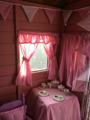 New PINK GINGHAM Den, Playhouse,  Wendy / Summer House, Curtains   • 14£