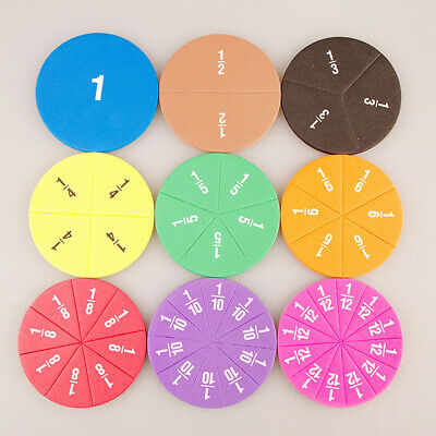 Set Of Rainbow Magnetic Round EVA Fractions Tiles Learning Number Teaching • 4.91£