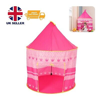 Childrens Kid Pink Castle Pop Up Play Tent Play House Indoor Outdoor Garden Girl • 14.99£