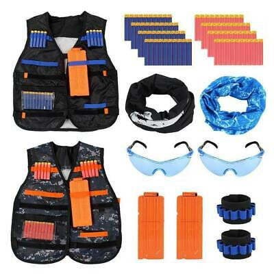 2Sets Kids Tactical Gun Vest Suit Kit Bullets Jacket Glasses Wrist Outdoor Games • 12.59£